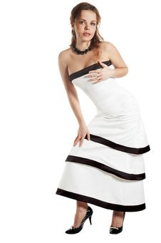 Free Sexual Girl In A White Evening Dress Royalty Free Stock Image - 7972666