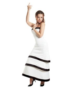 Free Beautiful Girl In A White Evening Dress Dances Royalty Free Stock Photography - 7972667