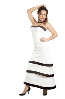 Free Beautiful Girl In A White Evening Dress Royalty Free Stock Images - 7972669