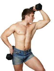 Free Strong Man Does(makes) Exercise With Black Dumbbel Royalty Free Stock Images - 7972829