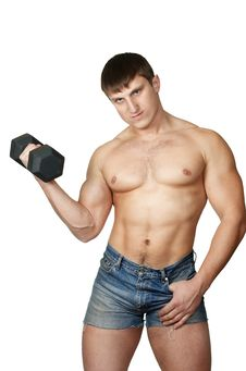Free Muscular Man Working Out With Dumbbell Royalty Free Stock Image - 7972896