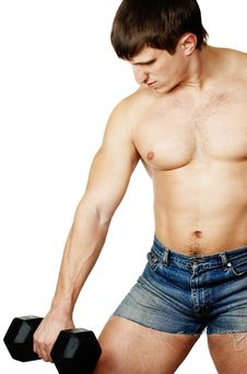 Free Muscular Man Working Out With Dumbbell Stock Photo - 7973030