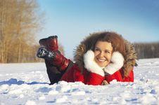 Free Girl Lays On Snow Stock Photo - 7973040