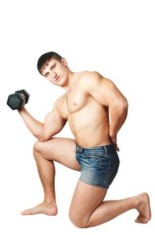 Free Muscular Man Working Out With Dumbbell Stock Photos - 7973153
