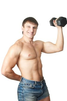 Free Part Of A Body The Young Man Lifting Dumbbells Royalty Free Stock Photography - 7973157
