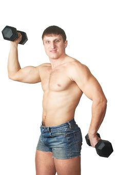 Free Young Man Lifting A Dumbel Royalty Free Stock Images - 7973159