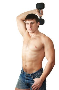 Free Athletic Male With Dumbbells Stock Photos - 7973163