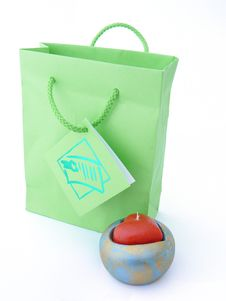 Free Valentine Candle With Green Packet Stock Photos - 7973203