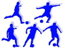 Free Football Players Silhouette Stock Photography - 7973472
