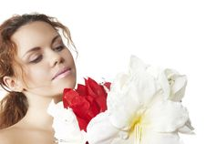 Free Beautiful Girl Smells Flower Stock Images - 7973534