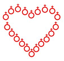 Heart Which Have Been Laid Female Symbols. Stock Photos