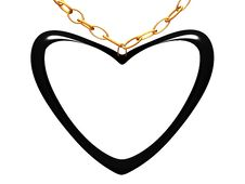 Medallion On A Chain In The Form Of Black Heart. Stock Photo