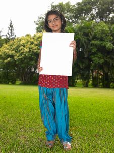 Free Girl Child With Blank Placard Stock Image - 7973911
