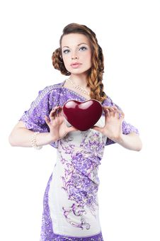 Free Beautiful Romantic Woman Holding A Dark Red Heart Stock Image - 7973941