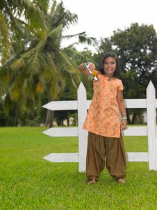Free Kid In The Park With Her Toy Aeroplane Stock Photography - 7974112