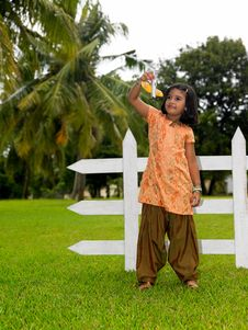 Free Kid In The Park With Her Toy Aeroplane Royalty Free Stock Photo - 7974135