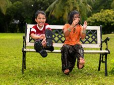 Free Kids Playing In The Rain Royalty Free Stock Photography - 7974677
