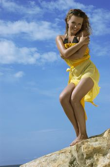 Free Girl On A Beach In A Dress Stock Images - 7975114