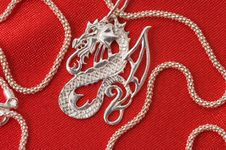Free Silver Necklace - A Dragon. Royalty Free Stock Photography - 7975247