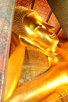The Reclining Buddha Of Wat Pho. Royalty Free Stock Photo
