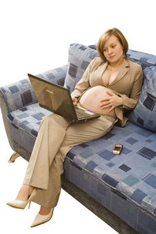 Free Young Pregnancy Woman At Homework Stock Photos - 7975623