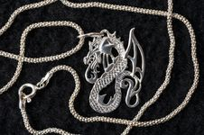 Free Dragon - A Silver Necklace. Royalty Free Stock Photography - 7975787