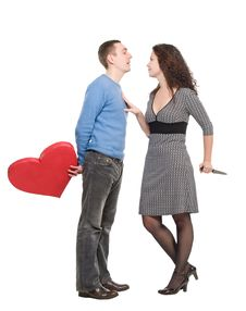 Free Couple Wiht Red Heart And Knife Stock Photography - 7975922