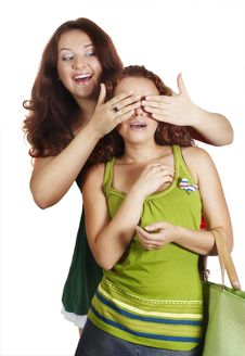 Free Girl Closes Eye A Hand To Other Girl Royalty Free Stock Image - 7976006