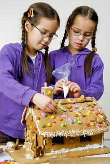 Twins Decorating Royalty Free Stock Images