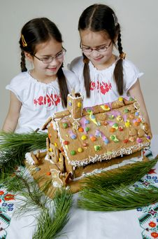 Twins Decorating Stock Photo
