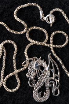 Free Dragon - A Silver Necklace. Royalty Free Stock Photos - 7976388