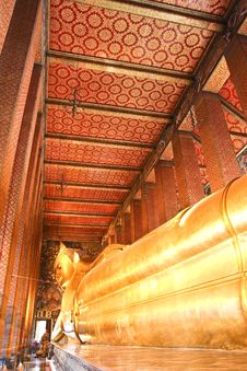 The Reclining Buddha Of Wat Pho. Royalty Free Stock Image