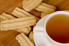 Cup Of Tea And Some Cookies Stock Photos