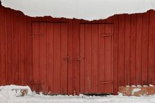 Red Shed In Winter Snow Stock Images