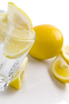 Soda Water And Lemon Slices Stock Photography