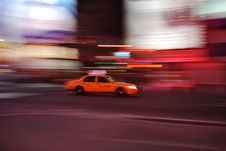 Free New York Taxi Speeding Through Times Square Stock Photos - 7978653