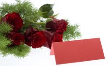 Free Red Roses With A Red Place Card Royalty Free Stock Photo - 7978975