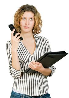 Free Young Businesswoman  With  Folder And Telephone Royalty Free Stock Images - 7979869