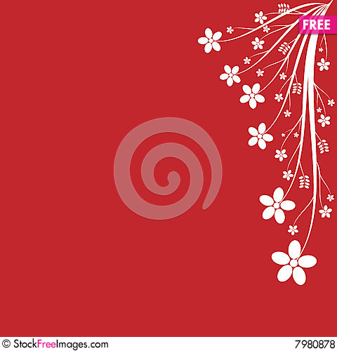 White Floral On Red Background