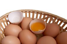 Free Eggs In The Brown Basket. Royalty Free Stock Photo - 7980205