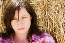 Free Young Woman In Haystack Royalty Free Stock Photos - 7980498