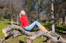 Free Girl Sunning On Fallen Oak Royalty Free Stock Photography - 7980547