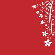 Free White Floral On Red Background Royalty Free Stock Photos - 7980878