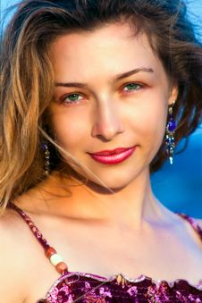 Portrait Of One Beautiful Young Woman Royalty Free Stock Images