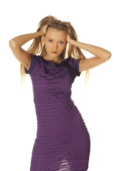 Free Woman In Violet Dress Royalty Free Stock Photos - 7981718