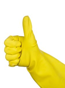Yellow Rubber Glove Giving The Thumbs Up Sign Stock Image