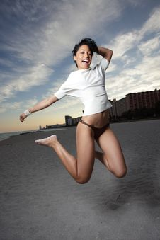 Free Woman Jumping For Joy Stock Photography - 7983302