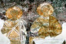Restoration Of Fresco In Novgorod Stock Photo