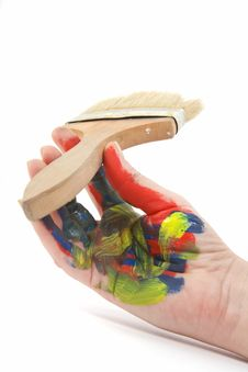 Colorful Hand With Paint Brush Stock Photos