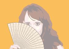 Portrait Of The Girl With Fan Royalty Free Stock Photos